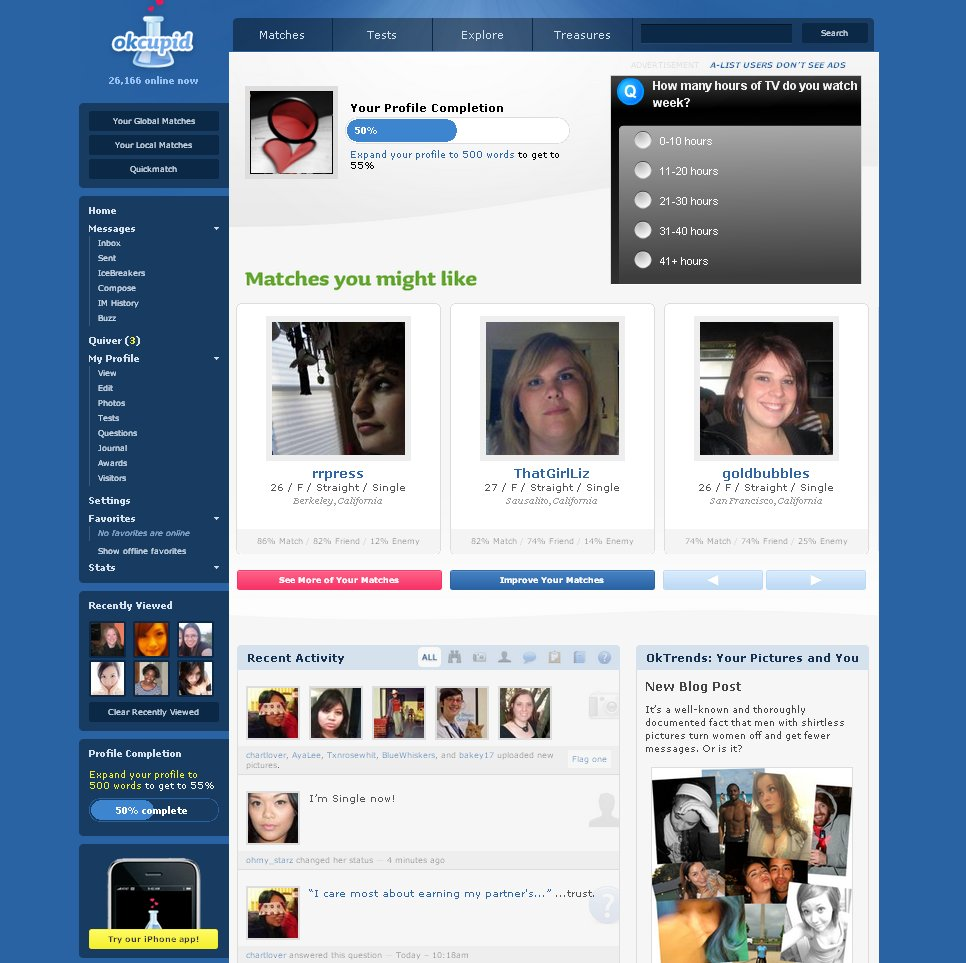 okcupid dating website Okcupid is an online dating website that uses quizzes and multiple-choice questions to find a match for the user.