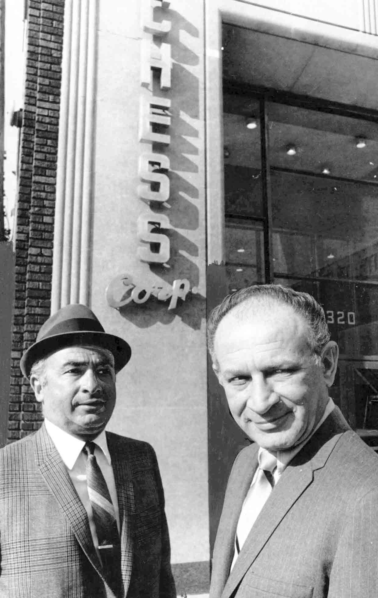 Brothers Phil (left) and Leonard Chess, owners of Berry's longtime label Chess, outside their Chicago headquarters.