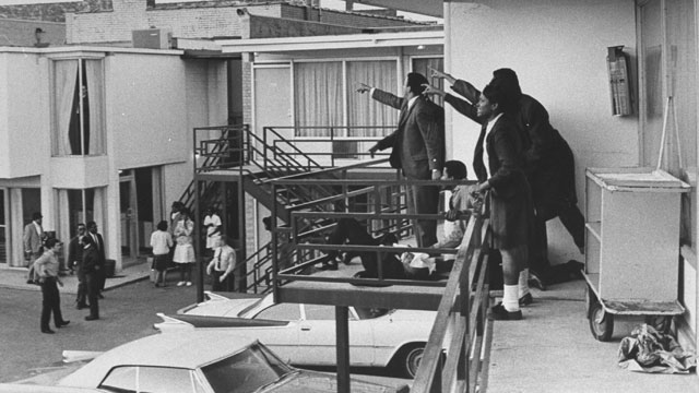 Civil rights leader Andrew Young (L) and others standing on balcony of Lorraine motel pointing in direction of assailant after assassination of civil rights ldr. Dr. Martin Luther King, Jr., who is lying at their feet. Joseph Louw—The LIFE Images Collection/Getty Images